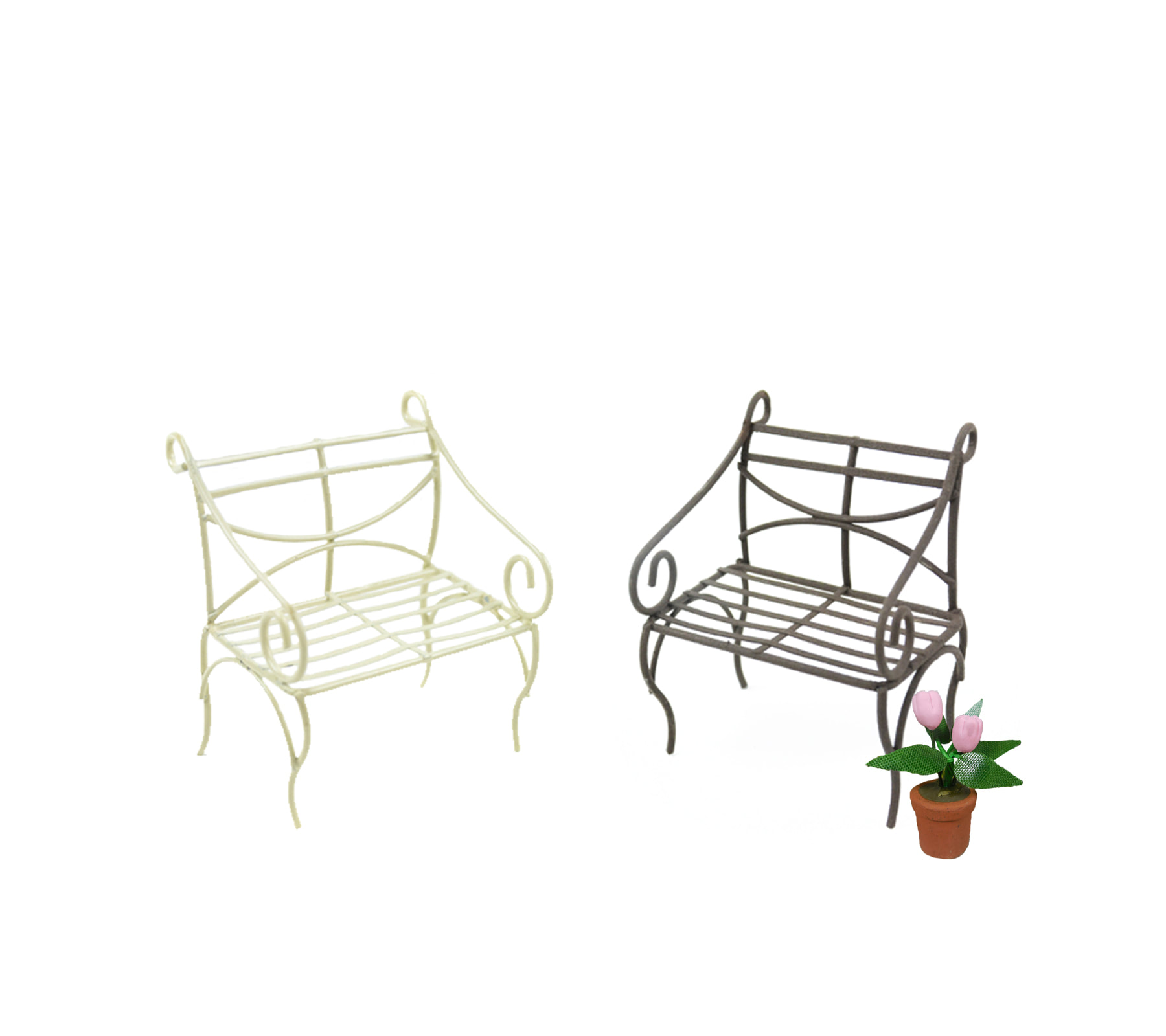 Awe Inspiring Miniature Metal Park Bench In Ivory Or Brown Realistic Bralicious Painted Fabric Chair Ideas Braliciousco